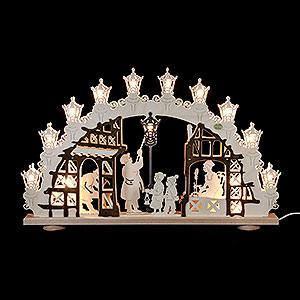 Schwibbögen Laubsägearbeiten 3D-Schwibbogen Lampenmann - 66x43x6 cm