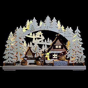 Schwibbögen Laubsägearbeiten 3D-Schwibbogen Markthändler - 43x30x7 cm