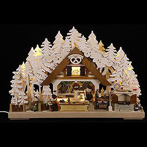 Schwibbögen Laubsägearbeiten 3D-Schwibbogen Molli-Weihnachtsbäckerei mit Raureif - 43x30 cm