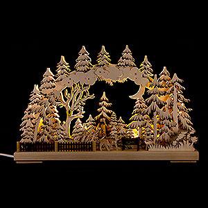 Schwibbögen Laubsägearbeiten 3D-Schwibbogen Naturschutzgebiet - 43x30 cm