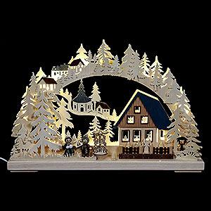 Schwibbögen Laubsägearbeiten 3D-Schwibbogen Pyramidenhaus - 43x30x7 cm