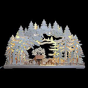 Schwibbögen Schwibbögen mit LED 3D-Schwibbogen Rehe im Wald - 72x43x8 cm