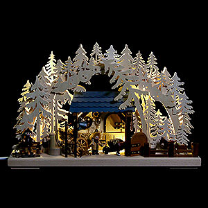 Schwibbögen Laubsägearbeiten 3D-Schwibbogen Reiterhof - 43x30 cm