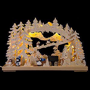 Schwibbögen Laubsägearbeiten 3D-Schwibbogen Schneemannglück - 43x30 cm