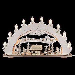 Schwibbögen Laubsägearbeiten 3D-Schwibbogen Skihütte Räucherhaus - 66x40x11,5 cm