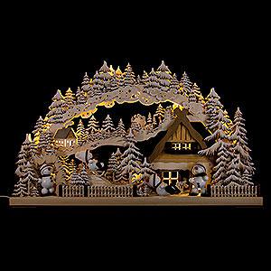 Schwibbögen Laubsägearbeiten 3D-Schwibbogen Snowmolli-Paradies mit Raureif - 72x43 cm