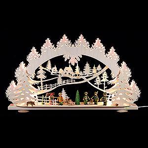 Schwibbögen Laubsägearbeiten 3D-Schwibbogen Waidmannsheil - 66x40x8,5 cm