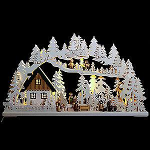 Schwibbögen Laubsägearbeiten 3D-Schwibbogen Waldgänger - 72x43x8 cm