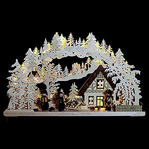 Schwibbögen Laubsägearbeiten 3D-Schwibbogen Waldhüter mit gedrechselten Figuren - 72x43x8 cm