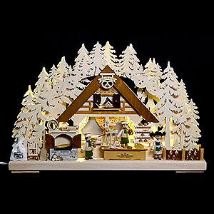 Schwibbögen Laubsägearbeiten 3D-Schwibbogen Weihnachtsbackstube - 44x29x7 cm