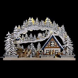 Schwibbögen Laubsägearbeiten 3D-Schwibbogen Wintereinbruch - 72x43 cm