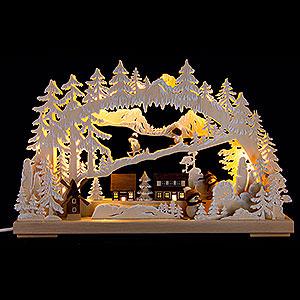 Schwibbögen Laubsägearbeiten 3D-Schwibbogen Winterfreuden mit Raureif - 40x30 cm