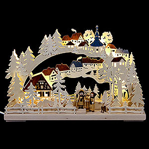 Schwibbögen Laubsägearbeiten 3D-Schwibbogen Winterwanderung - 43x30 cm
