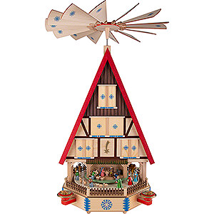 Christmas-Pyramids 4-tier Pyramids 4-Tier Adventhouse - The Arrival - 78 cm / 31 inch