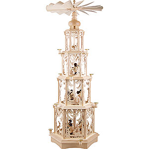 Specials 4-Tier Christmas Pyramid - Forest Design - Wax Candles with Figurines - 135 cm / 53 inch