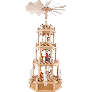 Christmas-Pyramids 4-tier Pyramids 4-Tier Pyramid - Nativity Figurines - Colored - 230 Volt Electrical - 72 cm / 28 inch