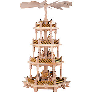 Christmas-Pyramids 4-tier Pyramids 4-Tier Pyramid - Nativity Scene Natural Wood - 54 cm / 21 inch