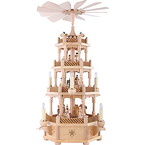 Christmas-Pyramids 4-tier Pyramids 4-Tier Pyramid - Nativity Scene Natural Wood - 59 cm / 23 inch
