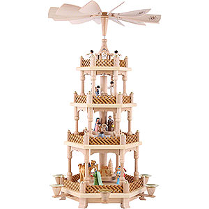 Christmas-Pyramids 4-tier Pyramids 4-Tier Pyramid - Nativity Scene Painted - 54 cm / 21 inch