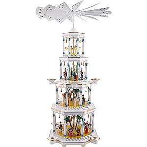 Christmas-Pyramids 4-tier Pyramids 4-Tier Pyramid - Nativity, White - 94 cm / 37 inch