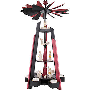 Christmas-Pyramids 4-tier Pyramids 4-Tier Pyramid - for Teacandles with Nativity Scene. Black and Red - 60 cm / 23.62 inch