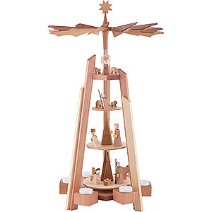 Christmas-Pyramids 4-tier Pyramids 4-Tier Pyramid - for Teacandles with Nativity Scene. Rosewood - 60 cm / 23.62 inch