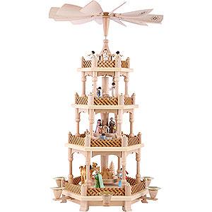 Weihnachtspyramiden 4-stöckige Pyramiden 4-stöckige Pyramide Christi Geburt bunt - 54 cm