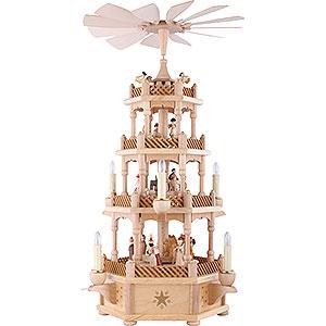 Weihnachtspyramiden 4-stöckige Pyramiden 4-stöckige Pyramide Christi Geburt natur - 59 cm