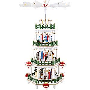 Weihnachtspyramiden 4-stöckige Pyramiden 4-stöckige Pyramide Christi Geburt weiß- 47 cm