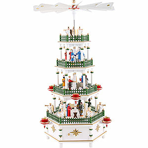 Weihnachtspyramiden 4-stöckige Pyramiden 4-stöckige Pyramide Christi Geburt weiß mit Musikspielwerk - 52 cm