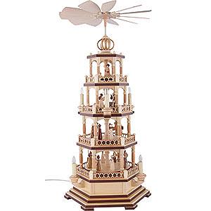 Weihnachtspyramiden 4-stöckige Pyramiden 4-stöckige Pyramide Heilige Geschichte - 70 cm - 120 V Elektromotor (US-Norm)