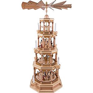 Weihnachtspyramiden 4-stöckige Pyramiden 4-stöckige Pyramide Christi Geburt mit Spielwerk, natur - 100 cm
