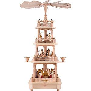 Weihnachtspyramiden 4-stöckige Pyramiden 4-stöckige Pyramide Christi Geburt natur - 45 cm