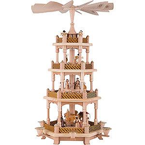 Weihnachtspyramiden 4-stöckige Pyramiden 4-stöckige Pyramide Christi Geburt natur - 54 cm
