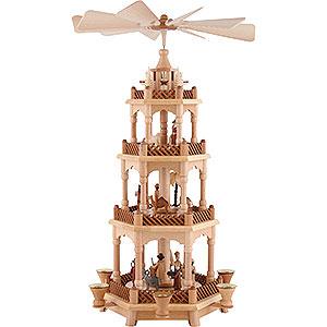 Weihnachtspyramiden 4-stöckige Pyramiden 4-stöckige Pyramide Christi Geburt, natur - 58 cm