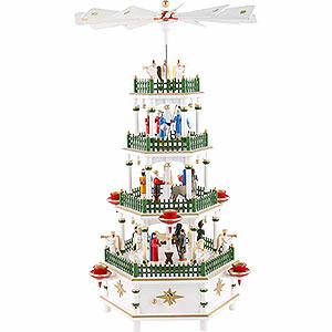 Weihnachtspyramiden 4-stöckige Pyramiden 4-stöckige Pyramide Christi Geburt weiss mit Musikspielwerk - 52 cm