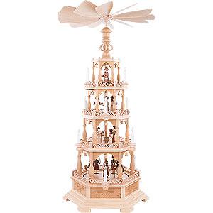 Weihnachtspyramiden 4-stöckige Pyramiden 4-stöckige Pyramide Heilige Geschichte - 122 cm - 120 V Elektromotor (US-Norm)
