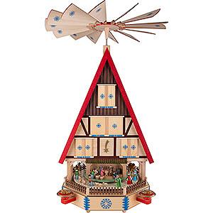 Weihnachtspyramiden 4-stöckige Pyramiden 4-stöckiges Adventshaus - Die Ankunft - 78 cm
