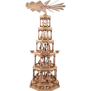 Christmas-Pyramids 5-tier Pyramids 5-Tier Pyramid - Nativity Scene - Natural Wood - 123 Cm/48 inch