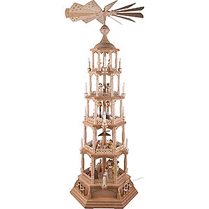 Christmas-Pyramids 5-tier Pyramids 5-Tier Pyramid - Nativity Scene - Natural Wood - 140 cm / 55 inch
