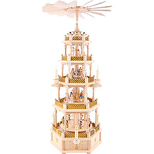 Christmas-Pyramids 5-tier Pyramids 5-Tier Pyramid - Nativity Scene Natural Wood - 75 cm / 30 inch