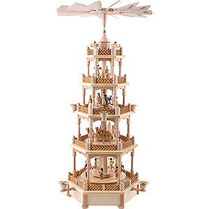 Weihnachtspyramiden 5-stöckige Pyramiden 5-stöckige Pyramide Christi Geburt natur - 70 cm