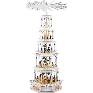 Weihnachtspyramiden 5-stöckige Pyramiden 5-stöckige Pyramide Christi Geburt mit Spielwerk - 123 cm