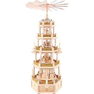 Weihnachtspyramiden 5-stöckige Pyramiden 5-stöckige Pyramide Christi Geburt natur - 75 cm