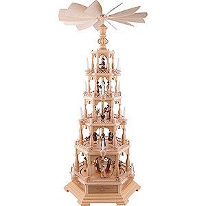 Weihnachtspyramiden 5-stöckige Pyramiden 5-stöckige Pyramide Heilige Geschichte - 142 cm - 120 V Elektromotor (US-Norm)