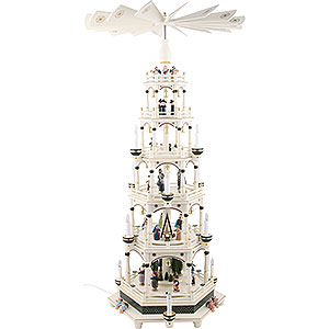 Christmas-Pyramids 6-tier Pyramids 6-Tier Pyramid - White-Green, Electric - 106 cm / 41.7inch - 220V Motor