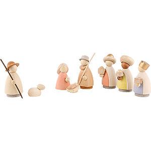 Kleine Figuren & Miniaturen Hennig-Krippe lasiert 8-teiliges Krippenset - modern lasiert - 8,5 cm