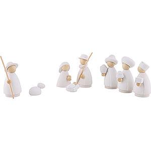 Kleine Figuren & Miniaturen Hennig-Krippe weiß/natur 8-teiliges Krippenset - modern weiß/natur - 8,5 cm