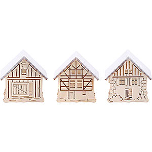 Candle Arches Arches Accessories Additional Houses with Snow, Set of Three - 5,5x5 cm / 2.2x2 inch