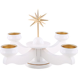 World of Light Advent Candlestick Advent Candle Holder - Star, for Thick Candles Or Tea Candles, White - 19 cm / 7.5 inch
